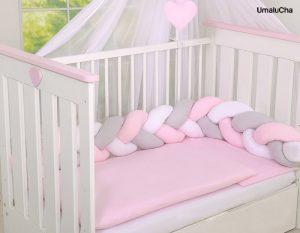 My-Sweet-Baby-Ochraniacz-Warkocz-Pleciony-do-Łóżeczka-Knot-Pillow-Różowy-180cm-Nowość!-MY-SWEET-BABY