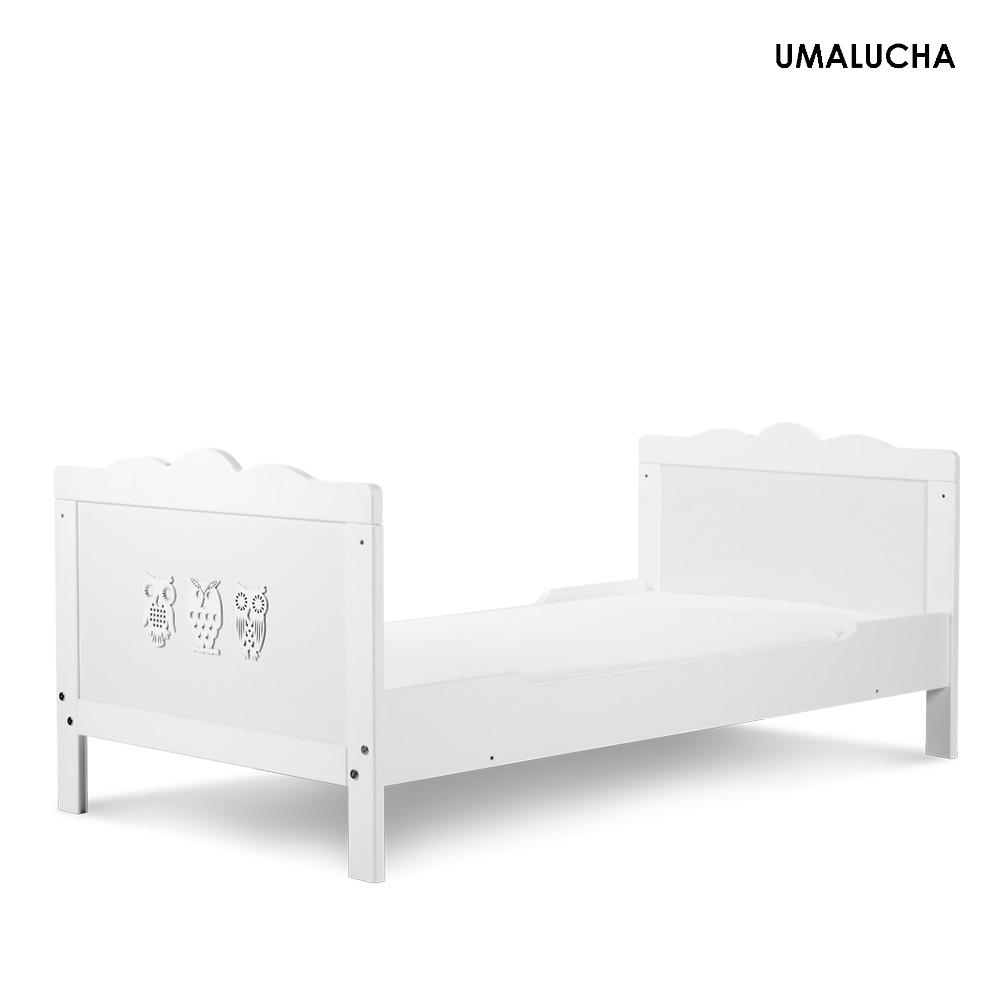 łóżeczko Marsell 140x70 Białe Sowy Szuflada Barierka