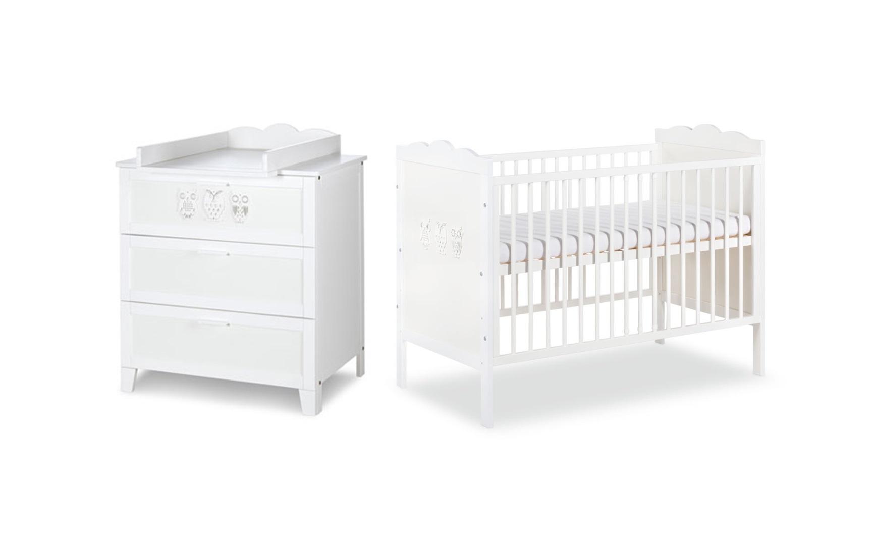łóżeczko Dziecięce Klupś Marsell 120x60 Komoda Białe Sowy